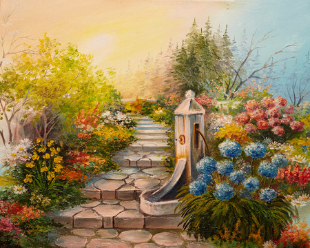 yellow flower: Oil Painting - stone stairs in the forest