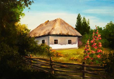 油絵 - 森の中の家