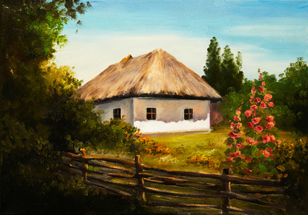 rural houses: Oil Painting - house in the forest