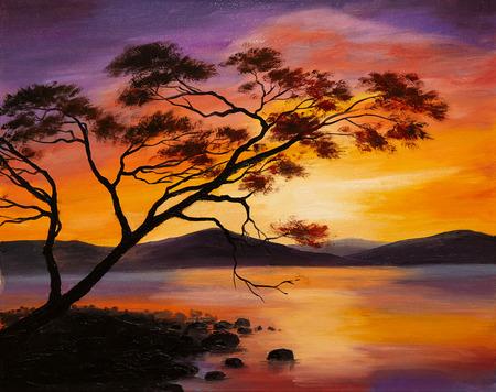 油絵 - 夕暮れの湖、抽象芸術