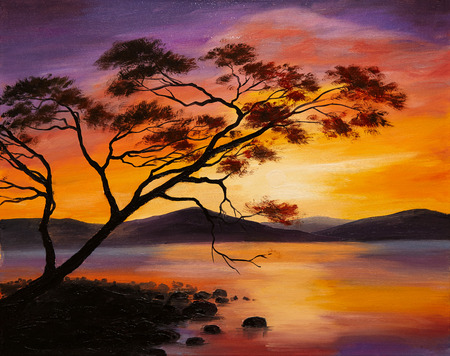 paintings: Oil Painting - sunset on the lake, abstract art