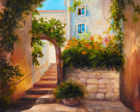 landscape architecture: oil painting - summer street with blooming flowers. Colorful abstract art