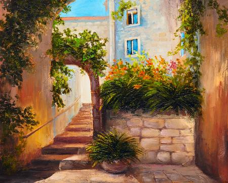 Peinture à l'huile - rue d'été avec des fleurs en fleurs. Art abstrait coloré Banque d'images - 38223010