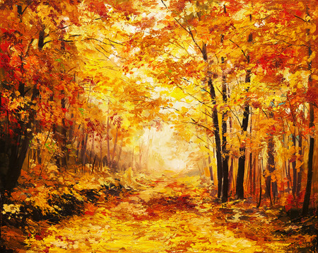 autumn in the park: Oil painting landscape - colorful autumn forest