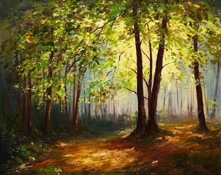 油絵の風景 - 夏の森、カラフルな抽象アート 写真素材