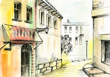 old pencil: watercolor painting of a narrow street, architecture
