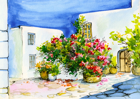watercolor painting of a bouquet of flowers in pots on the windowsill, patio photo