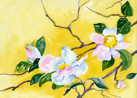 orchidee: pittura ad acquerello di delicati fiori di ciliegio su un ramo Archivio Fotografico