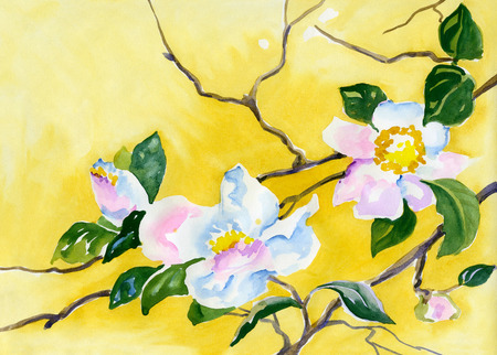 fabric painting: watercolor painting of delicate cherry blossoms on a branch