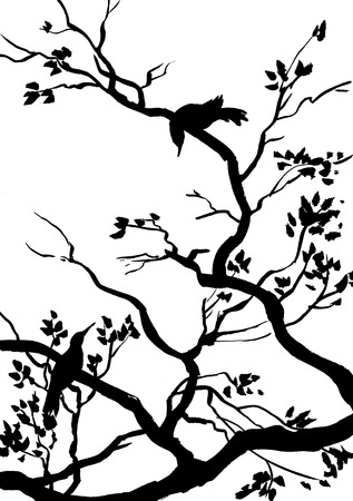 black branch: illustration, sketch of nature, birds, branches Stock Photo