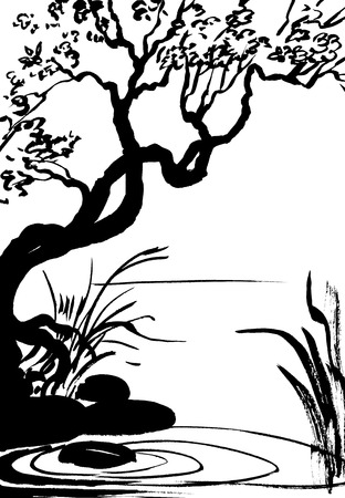 cattail: illustration, sketch of nature, swamp, tree, river, lake Stock Photo