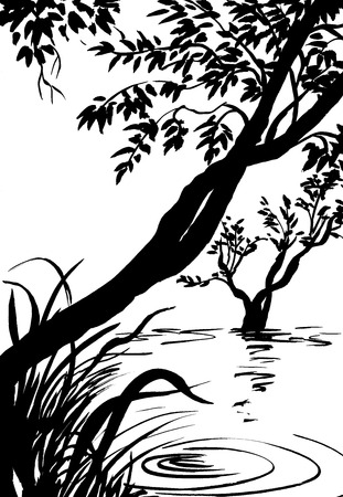 reeds: illustration, sketch of nature, swamp, tree, river, lake Stock Photo
