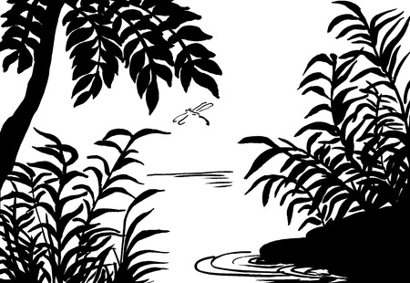 illustration, sketch of nature, swamp, tree, river, lake Stock Photo