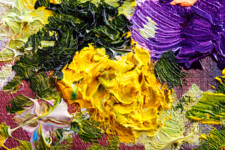 abstract painting: Abstract background. Oil painting - flowers Stock Photo