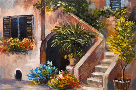 oil painting: oil painting - summer terrace, colorful flowers in a garden, house in Greece