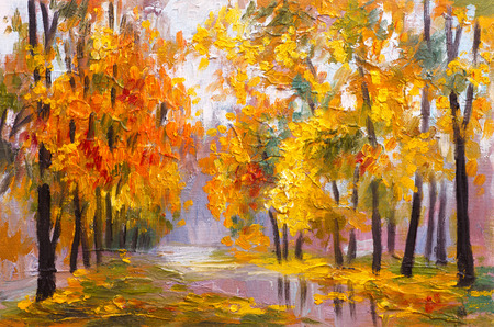 油絵の風景 - 秋の森、落ち葉、色鮮やかな画像、描画抽象のフル 写真素材
