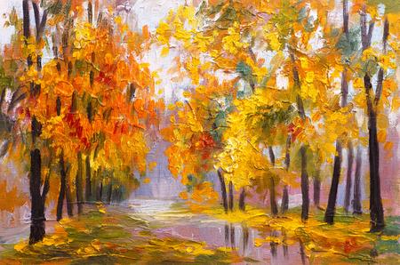 Pittura ad olio paesaggio - autunno foresta, piena di foglie cadute, immagine colorata, disegno astratto Archivio Fotografico - 41179099