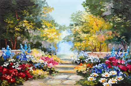 art painting: Oil painting landscape - colorful summer forest, beautiful flowers