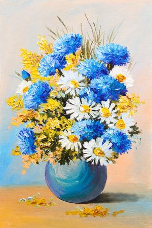 여름 꽃의 꽃다발, 정물 유화