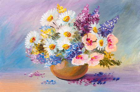vase of flowers: bouquet of summer flowers, still life oil painting