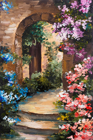 art painting: oil painting - summer terrace, colorful flowers in a garden, house in Greece