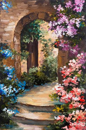 peinture: peinture à l'huile - terrasse d'été, fleurs colorées dans un jardin, maison en Grèce Banque d'images