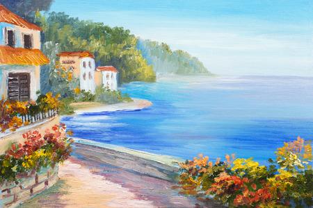 arte greca: pittura a olio - casa vicino al mare, fiori colorati, paesaggio marino estate
