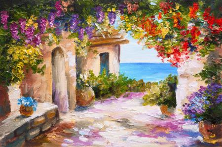 pintura al óleo - casa cerca del mar, flores de colores, paisaje marino del verano Foto de archivo