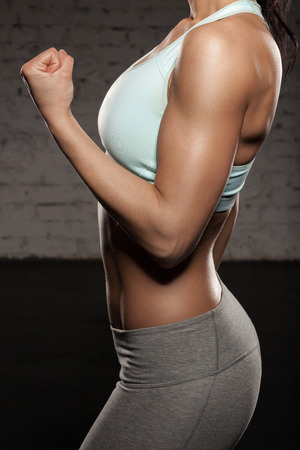 girl sport: Fitness woman with spory hand, workout