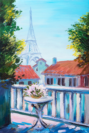 Oil painting of eiffel tower, France