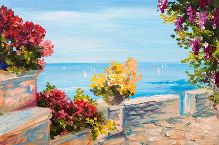 Oil painting landscape - terrace near the sea, flowers Stockfoto