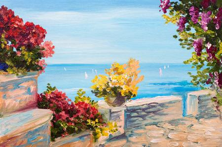 Pittura a olio paesaggio - terrazzo vicino al mare, fiori Archivio Fotografico - 41970486