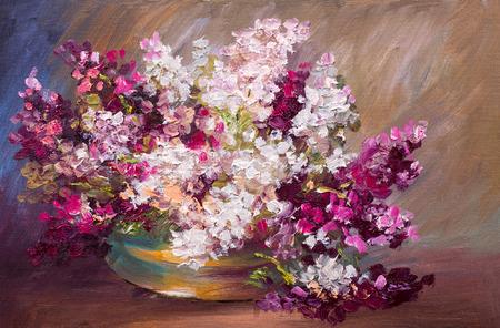 油絵・静物画、カラフルなライラックの花束