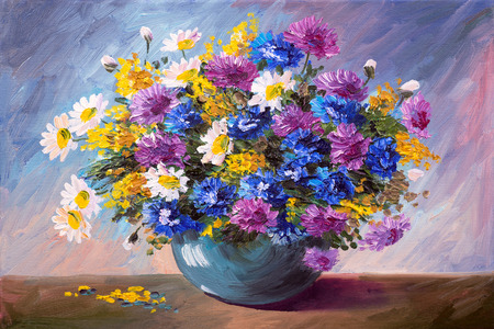 flowers in vase: oil painting - bouquet of wildflowers
