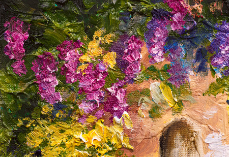 flower painting: Abstract background. Oil painting - flowers Stock Photo