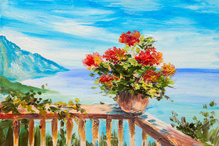 summer house: Oil painting landscape - bouquet of flowers in the background of Mediterranean Sea, сoast near the mountains