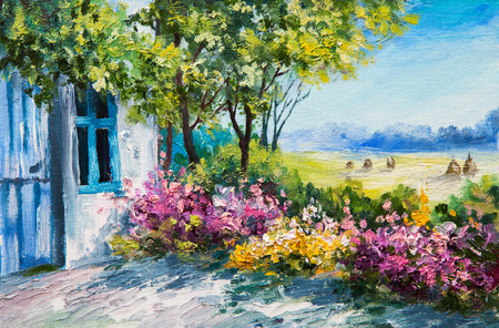 dibujo: paisaje pintura al óleo - jardín cerca de la casa, flores de colores, los bosques de verano Foto de archivo