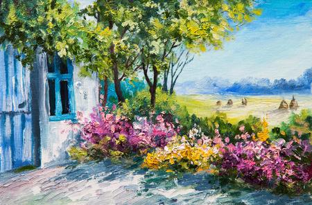 paisagem: pintura a óleo paisagem - jardim perto da casa, flores coloridas, floresta do verão Banco de Imagens