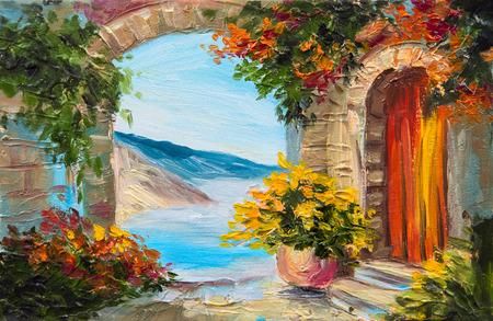 風景: 油絵 - 近くの海、色とりどりの花、夏の海の家