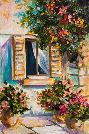 blue green landscape: oil painting - beautiful nature, colorful flowers, greek street