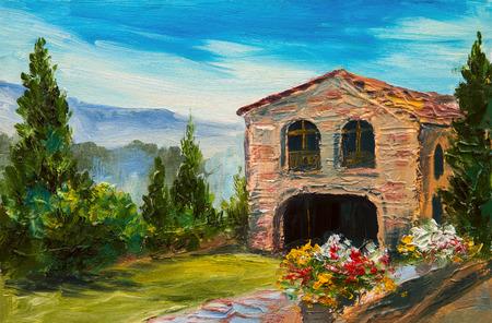 oil painting - Italian village, beautiful mountain landscape Stock fotó