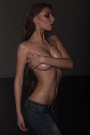 topless jeans: seductive sexy topless woman in jeans and in oil
