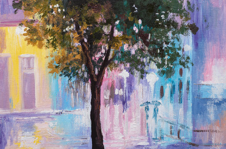 abstract impressionism, oil painting, silhouette of couple walking in the rain, colorful art
