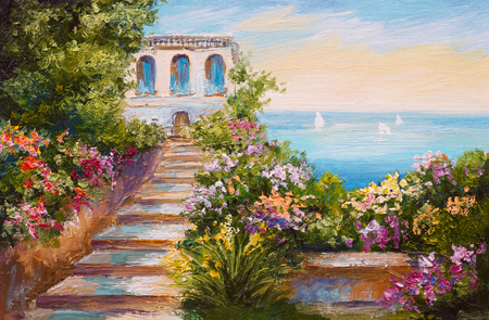 seascape: oil painting - house near the sea, colorful flowers, summer seascape