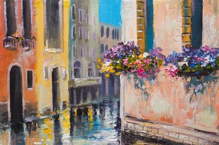 aceites: pintura al óleo, canal en Venecia, Italia, famoso lugar turístico, colorido impresionismo