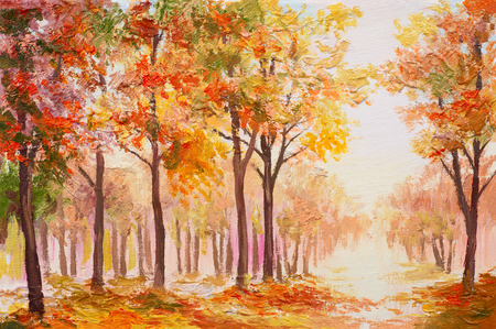 oil painting: Oil painting landscape - colorful autumn forest