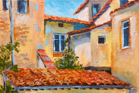 italy landscape: colorful oil painting - roofs of houses, European street, art  impressionism Stock Photo