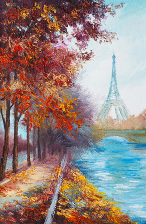 Oil painting of Eiffel Tower, France, autumn landscape Imagens