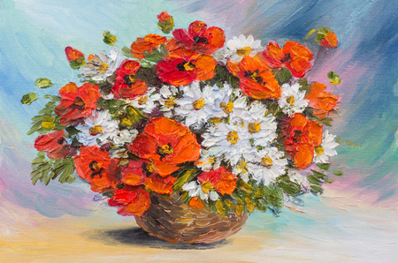 vase: Oil painting still life, abstract watercolor bouquet of poppies and daisies