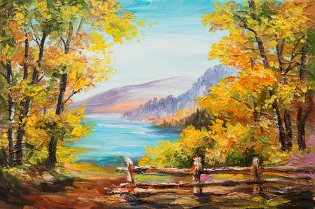 風景: 油絵風景 - カラフルな秋の森、山の湖、印象派